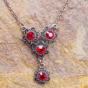 1928 Red Rhinestone Necklace